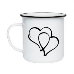 Кружка эмалированная Влюбленные сердца