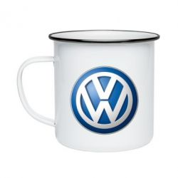 Кружка емальована Volkswagen 3D Logo