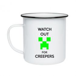 Кружка емальована Watch Out For Creepers