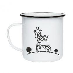 Кружка эмалированная жираф
