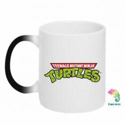 Кружка-хамелеон Черепашки ниндзя логотип - FatLine