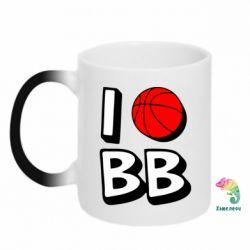 Кружка-хамелеон I love basketball - FatLine