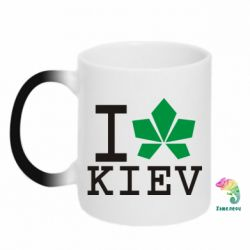 Кружка-хамелеон I love Kiev - с листиком - FatLine