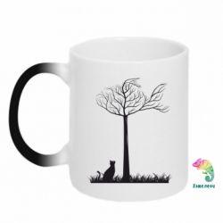 Купить Кружка-хамелеон Кот прыгает на дерево, FatLine