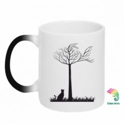 Кружка-хамелеон Кот прыгает на дерево - FatLine