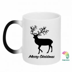 Кружка-хамелеон Merry Christmas Deer - FatLine