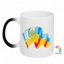 Кружка-хамелеон Прапор України з гербом