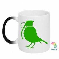 Кружка-хамелеон Птичка с гранатой - FatLine