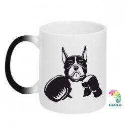 Кружка-хамелеон Собака в боксерських рукавичках