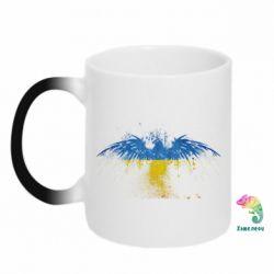 Кружка-хамелеон Жовто-блакитний птах - FatLine