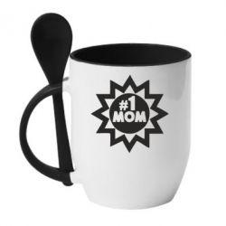 Кружка с керамической ложкой # 1 MOM - FatLine