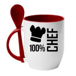 Кружка с керамической ложкой 100% Chef - FatLine