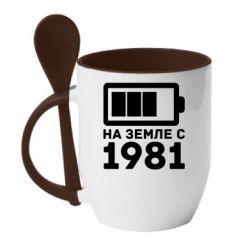 Кружка с керамической ложкой 1981