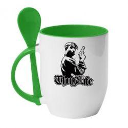 Купить Кружка с керамической ложкой 2pac Thug Life, FatLine