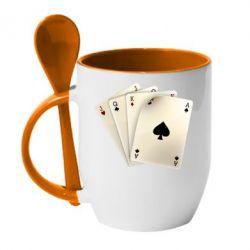 Кружка с керамической ложкой 4 cards - FatLine