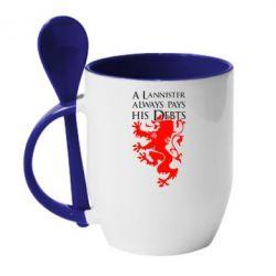 Кружка с керамической ложкой A Lannister always pays his debts - FatLine