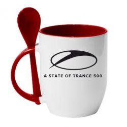 Кружка с керамической ложкой A state of trance 500 - FatLine