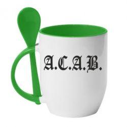 Кружка с керамической ложкой A.C.A.B. - FatLine