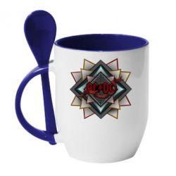 Кружка с керамической ложкой AC/DC Art Logo - FatLine