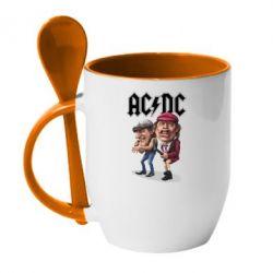 Кружка з керамічною ложкою AC/DC Art