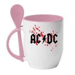 Кружка с керамической ложкой ACDC - FatLine