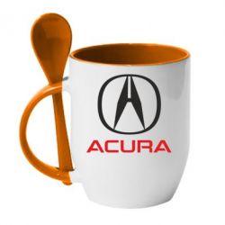 Кружка с керамической ложкой Acura - FatLine