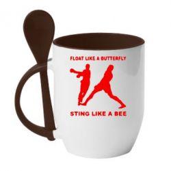 Кружка с керамической ложкой Ali: Float Like A Butterfly - FatLine