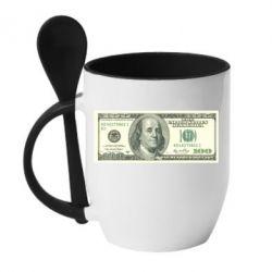 Кружка с керамической ложкой Американский Доллар - FatLine