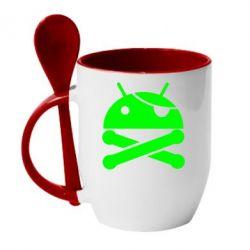 Кружка с керамической ложкой Android Pirate - FatLine
