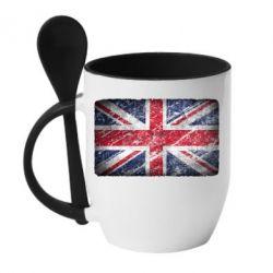 Кружка с керамической ложкой Англия - FatLine
