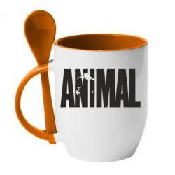 Кружка с керамической ложкой Animal Logo - FatLine