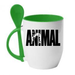 Кружка с керамической ложкой Animal Powerlifting - FatLine