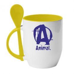 Кружка с керамической ложкой Animal - FatLine