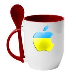Кружка с керамической ложкой Apple Ukraine - FatLine