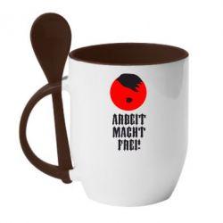 Кружка з керамічною ложкою Arbeit Macht Ftei Hitler