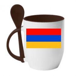 Кружка с керамической ложкой Армения - FatLine