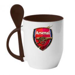 Кружка с керамической ложкой Arsenal Art Logo - FatLine