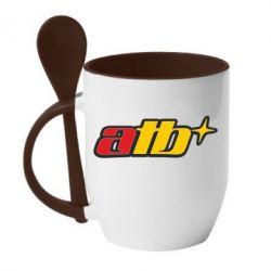 Кружка с керамической ложкой ATB - FatLine