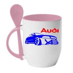 Кружка с керамической ложкой Audi Turbo - FatLine