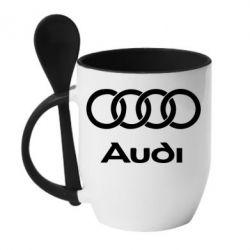 Кружка с керамической ложкой Audi - FatLine