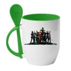 Кружка с керамической ложкой Avengers on the rock - FatLine