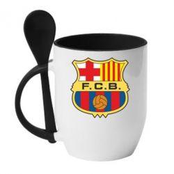 Кружка с керамической ложкой Barcelona - FatLine