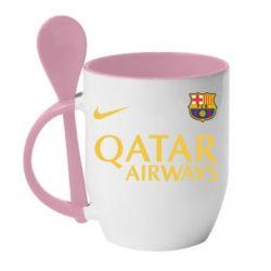 Кружка с керамической ложкой Барселона - FatLine