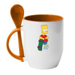 Кружка с керамической ложкой Bart Simpson - FatLine