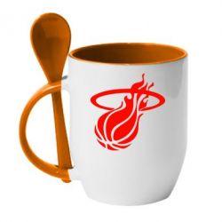 Кружка с керамической ложкой Баскетбольный мяч в кольце - FatLine