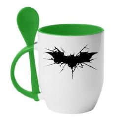 Кружка с керамической ложкой Batman cracks - FatLine