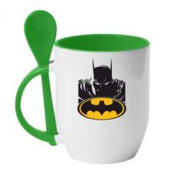 Кружка с керамической ложкой Batman face - FatLine