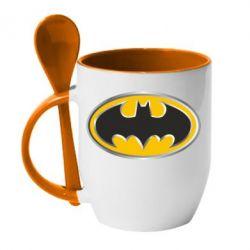 Кружка с керамической ложкой Batman Gold Logo - FatLine