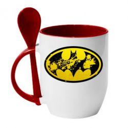 Кружка с керамической ложкой Batman Graffiti - FatLine