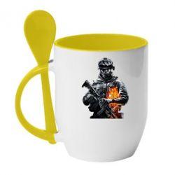 Кружка с керамической ложкой Battlefield Warrior - FatLine
